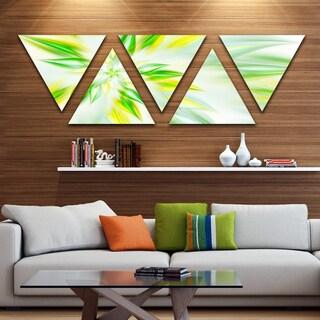 Designart 'Light Green Fractal Spiral Flower' Contemporary Triangle Canvas Art Print - 5 Panels