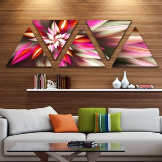 Designart 'Exotic Red Fractal Spiral Flower' Contemporary Triangle Canvas Art Print - 5 Panels