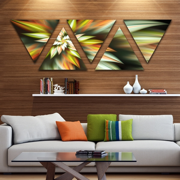 Designart 'Exotic Brown Fractal Spiral Flower' Contemporary Triangle Canvas Art Print - 5 Panels