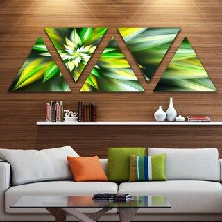 Designart 'Exotic Green Fractal Spiral Flower' Contemporary Triangle Canvas Art Print - 5 Panels