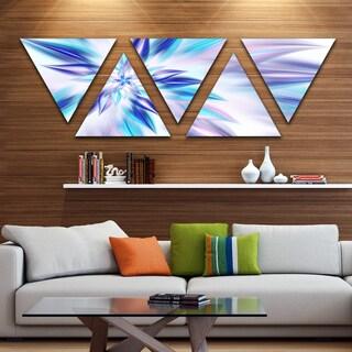 Designart 'Light Blue Fractal Spiral Flower' Contemporary Triangle Canvas Art Print - 5 Panels