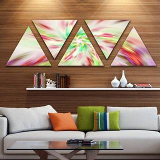 Designart 'Exotic Multi Color Spiral Flower' Contemporary Triangle Canvas Art Print - 5 Panels