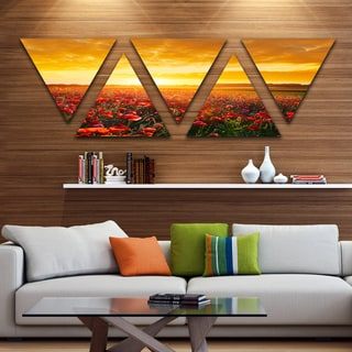 Designart 'Poppy Field under Ablaze Sunset' Contemporary Wall Art Triangle Canvas - 5 Panels