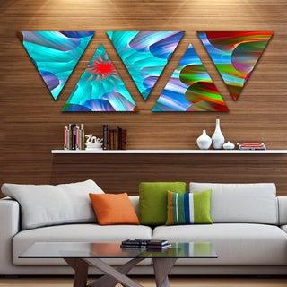 Designart 'Multi Layered Fractal Spirals' Contemporary Triangle Canvas Art Print - 5 Panels