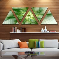 Designart 'Rotating Bright Green Flower' Contemporary Triangle Canvas Art Print - 5 Panels