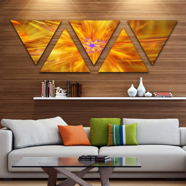Designart 'Glowing Brightest Star Exotic Flower' Contemporary Triangle Canvas Art Print - 5 Panels