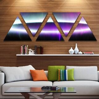 Designart 'Beautiful Purple Northern Lights' Contemporary Triangle Canvas Art Print - 5 Panels