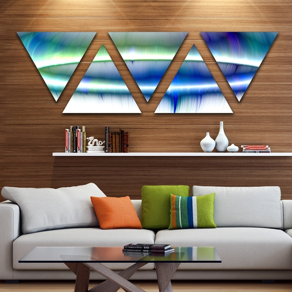 Designart 'Beautiful Blue Northern Lights' Contemporary Triangle Canvas Art Print - 5 Panels