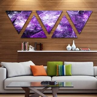 Designart 'Mystic Purple Fractal' Contemporary Wall Art Triangle Canvas - 5 Panels
