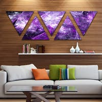 Designart 'Mystic Purple Fractal' Contemporary Wall Art Triangle Canvas - 5 Panels
