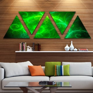Designart 'Beautiful Green Pattern on Black' Contemporary Wall Art Triangle Canvas - 5 Panels