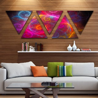 Designart 'Beautiful Pink Pattern on Black' Contemporary Wall Art Triangle Canvas - 5 Panels
