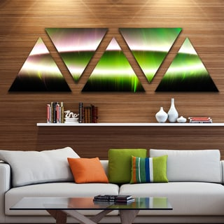 Designart 'Beautiful Green Northern Lights' Contemporary Triangle Canvas Art Print - 5 Panels