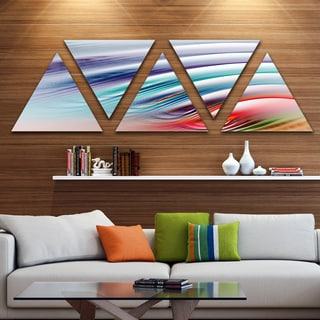 Designart 'Water Ripples Rainbow Waves' Contemporary Triangle Canvas Art Print - 5 Panels