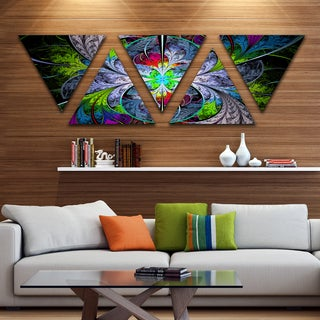 Designart 'Multi Color Fractal Stained Glass' Contemporary Wall Art Triangle Canvas - 5 Panels