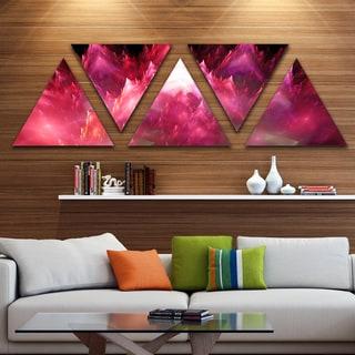 Designart 'Red Fractal Crystals Design' Contemporary Triangle Canvas Art Print - 5 Panels