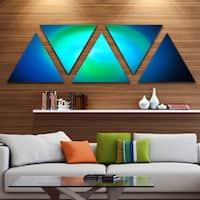 Designart 'Blue Misty Sphere on Black' Contemporary Triangle Canvas Art Print - 5 Panels