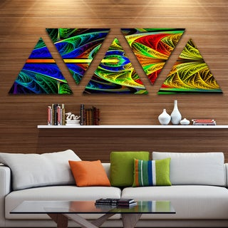 Designart 'Colorful Stained Glass Texture' Contemporary Wall Art Triangle Canvas - 5 Panels
