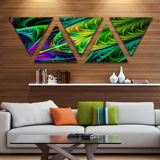 Designart 'Green Stained Glass Texture' Contemporary Wall Art Triangle Canvas - 5 Panels
