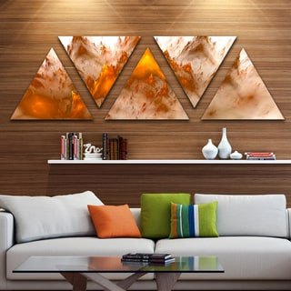 Designart 'Brown Fractal Crystals Design' Contemporary Triangle Canvas Art Print - 5 Panels