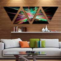 Designart 'Green Red Spectrum of Light' Contemporary Triangle Canvas Art Print - 5 Panels