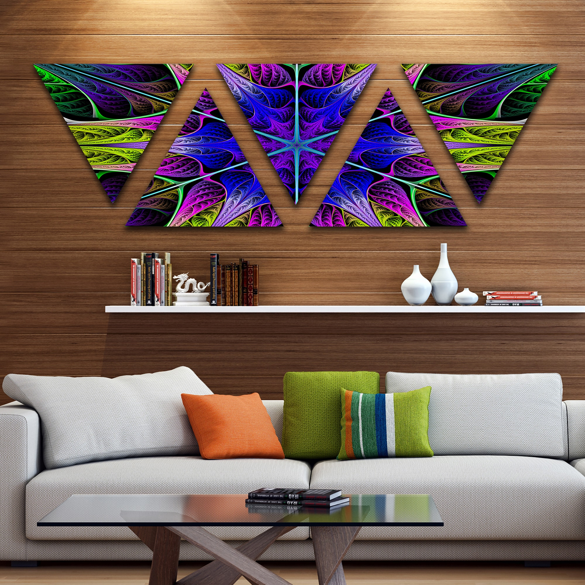 Image of: Shop Black Friday Deals On Designart Star Shaped Blue Stained Glass Contemporary Triangle Canvas Art Print 5 Panels On Sale Overstock 17007766
