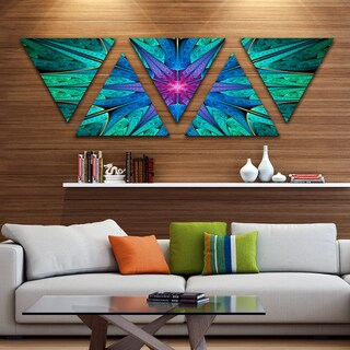 Designart 'Turquoise Star Fractal Stained Glass' Contemporary Triangle Canvas Art Print - 5 Panels