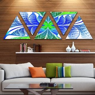Designart 'Green Blue Fractal Glass Texture' Contemporary Triangle Canvas Art Print - 5 Panels