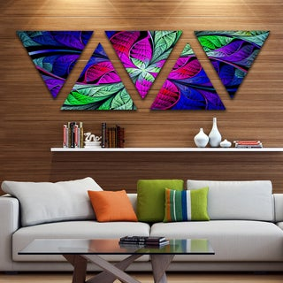 Designart 'Multi Color Stained Glass Texture' Contemporary Triangle Canvas Art Print - 5 Panels