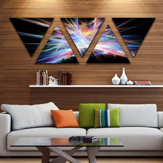 Designart 'Light Blue Spectrum of Light' Contemporary Triangle Canvas Art Print - 5 Panels