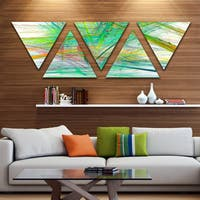 Designart 'Green Magical Fractal Pattern' Contemporary Triangle Canvas Art Print - 5 Panels