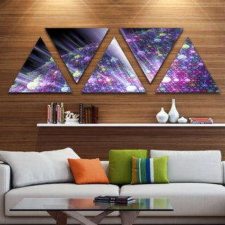 Designart 'Purple Solar Bubbles Planet' Contemporary Triangle Canvas Art Print - 5 Panels