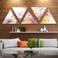 Designart 'Red Blue Solar Bubbles Planet' Contemporary Triangle Canvas Wall Art - 5 Panels