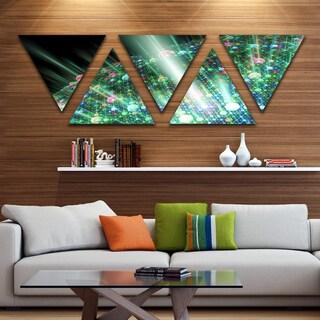 Designart 'Bright Blue Solar Bubbles Planet' Contemporary Triangle Canvas Wall Art - 5 Panels