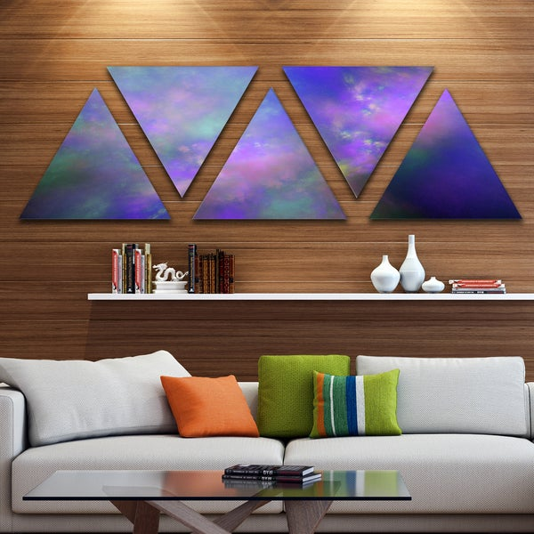 Designart 'Perfect Purple Starry Sky' Contemporary Triangle Canvas Wall Art - 5 Panels