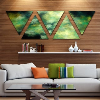 Designart 'Perfect Green Starry Sky' Contemporary Triangle Canvas Wall Art - 5 Panels