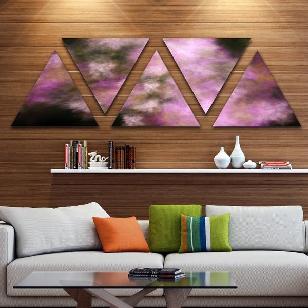 Designart 'Perfect Pink Starry Sky' Contemporary Triangle Canvas Art Print - 5 Panels