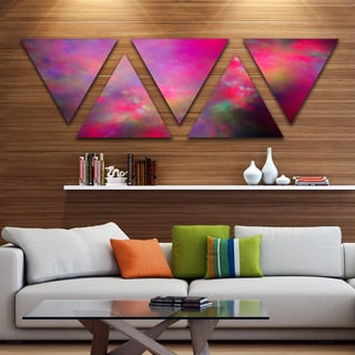 Designart 'Perfect Red Starry Sky' Contemporary Triangle Canvas Art Print - 5 Panels