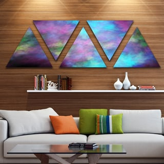 Designart 'Perfect Blue Purple Starry Sky' Contemporary Triangle Canvas Art Print - 5 Panels