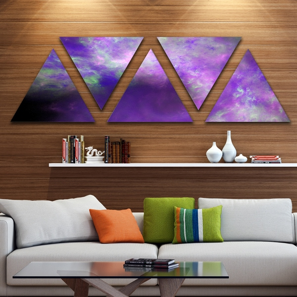 Designart 'Perfect Light Purple Starry Sky' Contemporary Triangle Canvas Art Print - 5 Panels