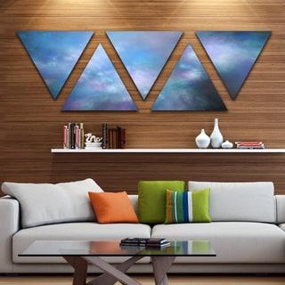 Designart 'Perfect Light Blue Starry Sky' Contemporary Triangle Canvas Art Print - 5 Panels