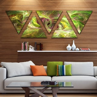 Designart 'Yellow Fractal Ornamental Glass' Contemporary Triangle Canvas Art Print - 5 Panels