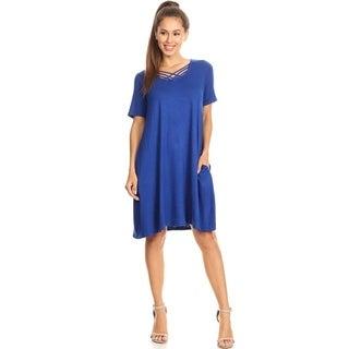 Women's Solid Color Criss-Cross Neckline Dress