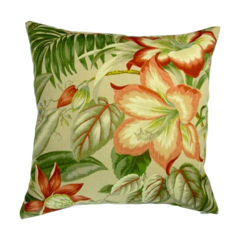 18-inch Indoor/Outdoor Tropical Island Hawaiian Beach Botanical Hibiscus Flowers - Pillow Cover Only (Set of 2)