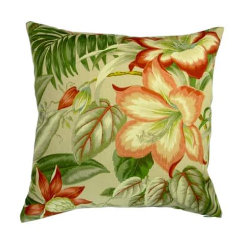 18-inch Indoor/Outdoor Tropical Island Hawaiian Beach Botanical Hibiscus Flowers - Throw Pillow (Set of 2)