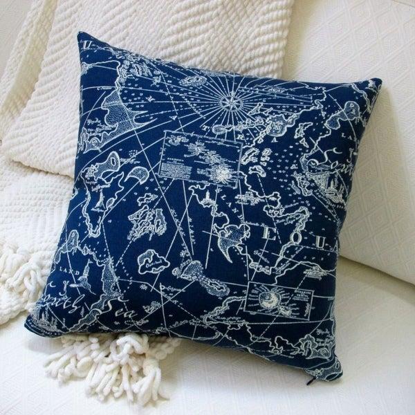 Artisan Pillows 18 Inch Indoor/Outdoor Coastal Beach Home South Seas  Nautical In Navy
