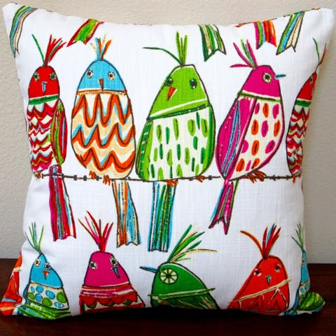 Artisan Pillows Indoor 18-inch Kids Nursery Room Colorful Sitting Pretty Birds in Rainbow - Throw Pillow