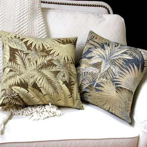 18-inch Indoor/Outdoor Tropical Island Hawaiian Beach Bahamian Palm Leaves in Blue or Brown -Throw Pillow (Set of 2)
