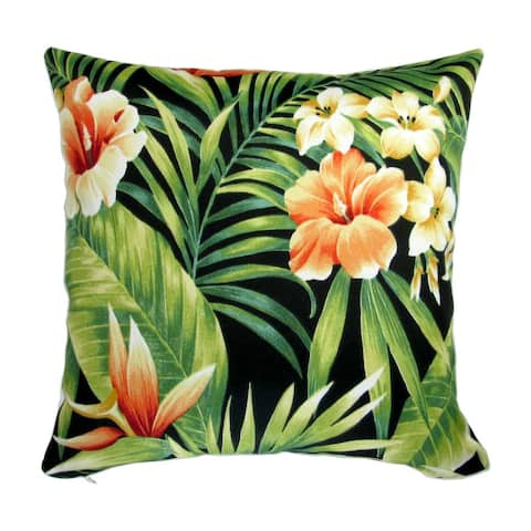 18-inch Indoor/Outdoor Tropical Island Hawaiian Beach Palm, Bird of Paradise, Hibiscus Flower in Black - Throw Pillow (Set of 2)