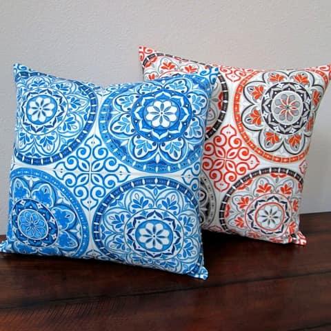 Artisan Pillows 18-inch Indoor/Outdoor Spanish Moroccan Color Wheel Circles in Indigo Blue or Orange - Throw Pillow (Set of 2)
